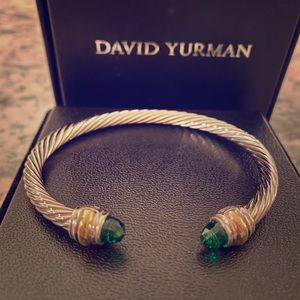David yurman cable bracelet with green gemstones